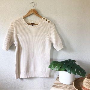 Talbots 100% Cotton Ivory Short Sleeve Sweater